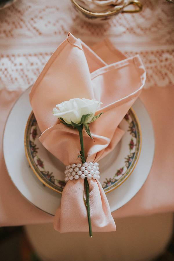 Napkin with rose, Tea Party Themed Baby Shower | Kate Olsen Photography
