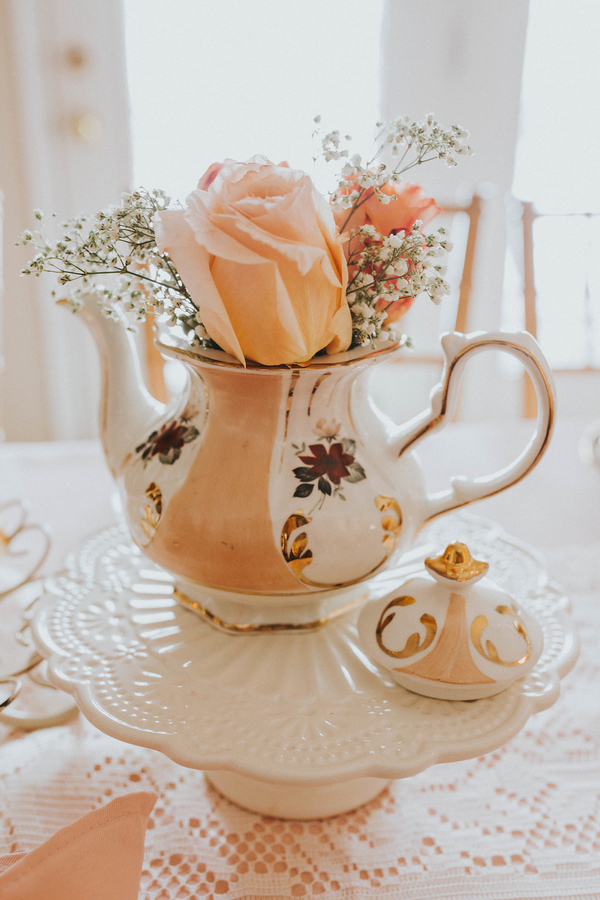 Teapot with roses, Tea Party Themed Baby Shower | Kate Olsen Photography