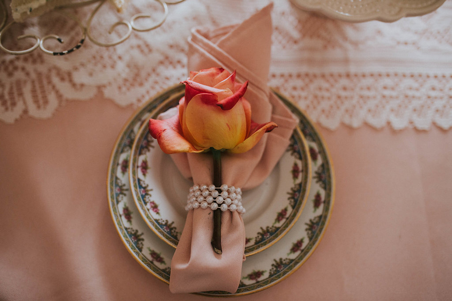 Roses on napkin, Tea Party Themed Baby Shower | Kate Olsen Photography