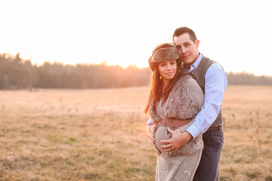 Couple holding pregnant belly, Countryside + Sunset Baby Bump Session | Turnquist Photography