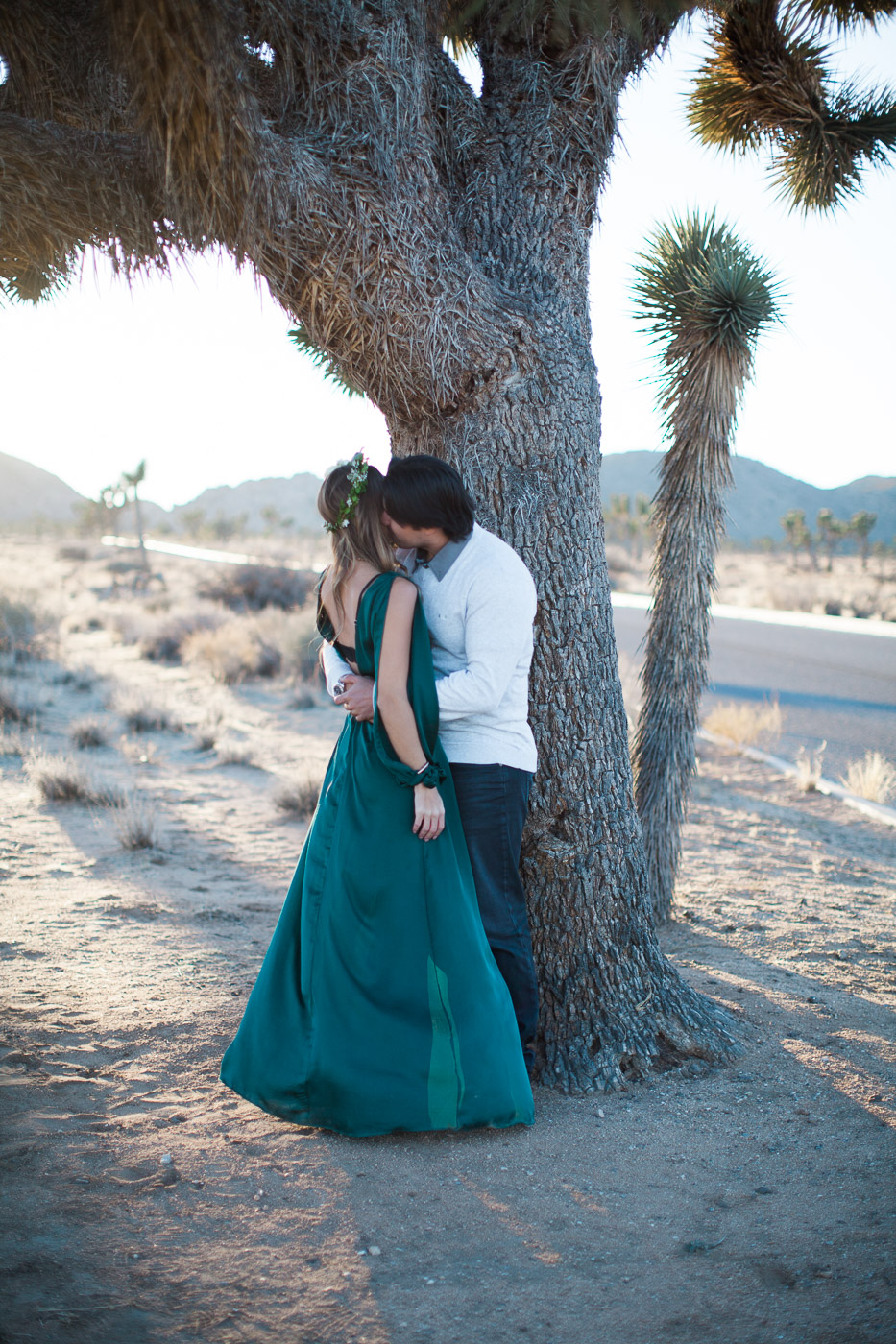 Husband kissing wife, Joshua Tree Anniversary Session | Lindsey Parkin Photography