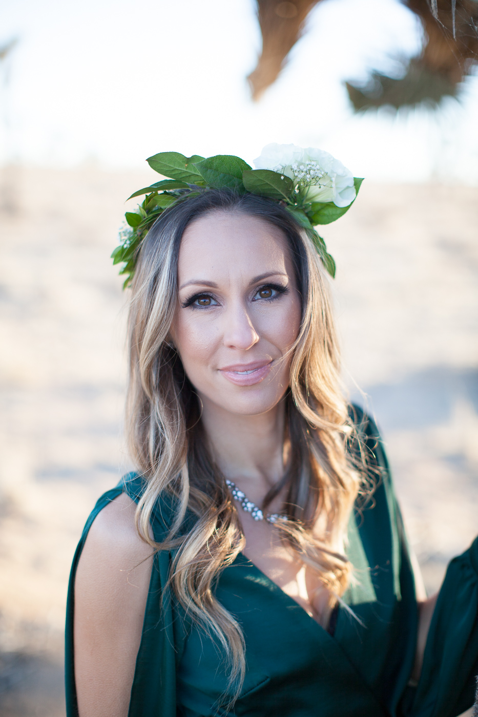Wife in a flower crown, Joshua Tree Anniversary Session | Lindsey Parkin Photography