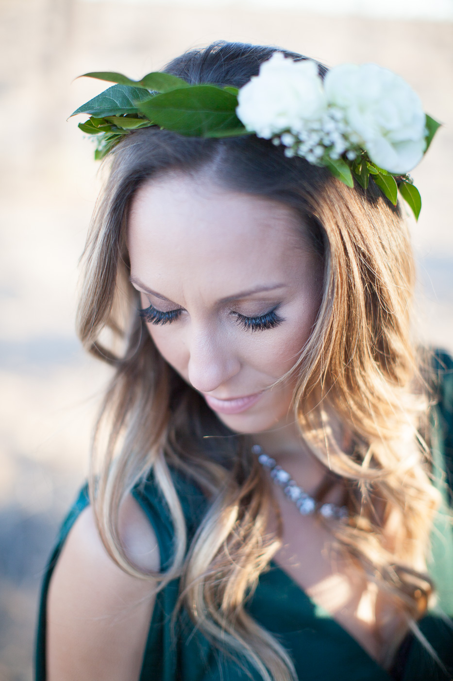 Wife in flower crown, Joshua Tree Anniversary Session | Lindsey Parkin Photography