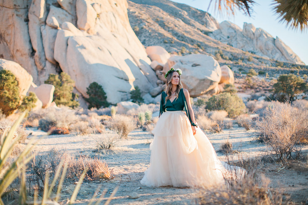Wife in long tulle skirt, Joshua Tree Anniversary Session | Lindsey Parkin Photography