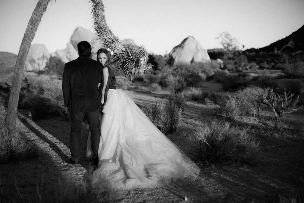 Black and white photo of couple, Joshua Tree Anniversary Session | Lindsey Parkin Photography