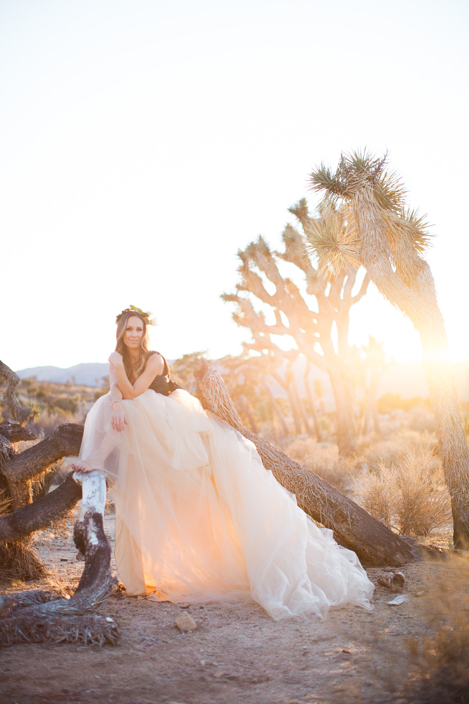 Photo of wife in sun, Joshua Tree Anniversary Session | Lindsey Parkin Photography