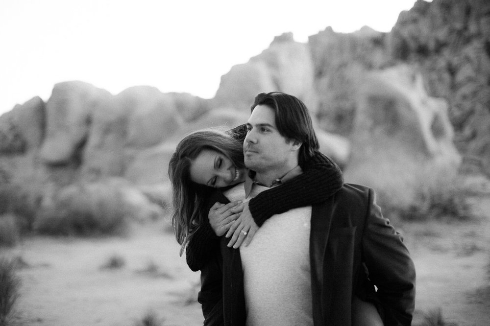 Black + White Photo of couple, Joshua Tree Anniversary Session | Lindsey Parkin Photography