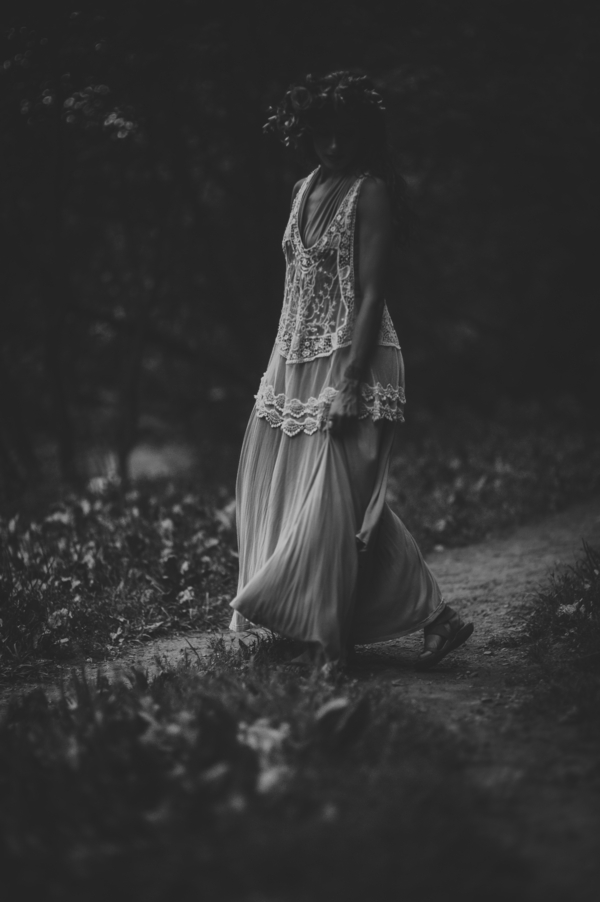 Black and white photo of woman in woods, Ethereal Woodland Styled Shoot | Rowanberry + Lavendar Photography