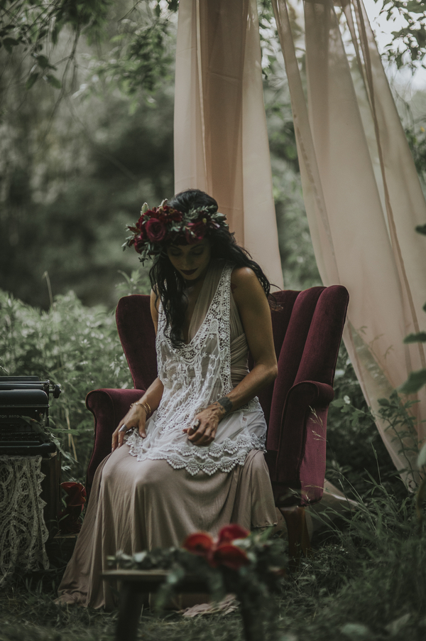 Woman sitting in chair, Ethereal Woodland Styled Shoot | Rowanberry + Lavendar Photography