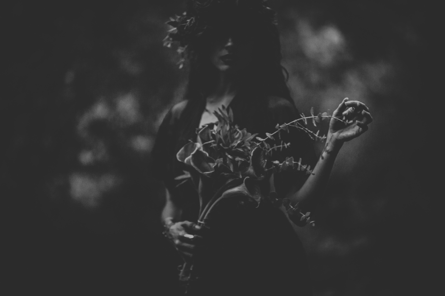 Black and white photo of woman holding flowers, Ethereal Woodland Styled Shoot | Rowanberry + Lavendar Photography