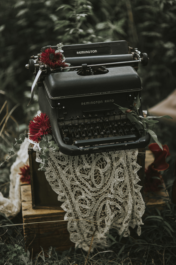 Photo of typewriter, Ethereal Woodland Styled Shoot | Rowanberry + Lavendar Photography