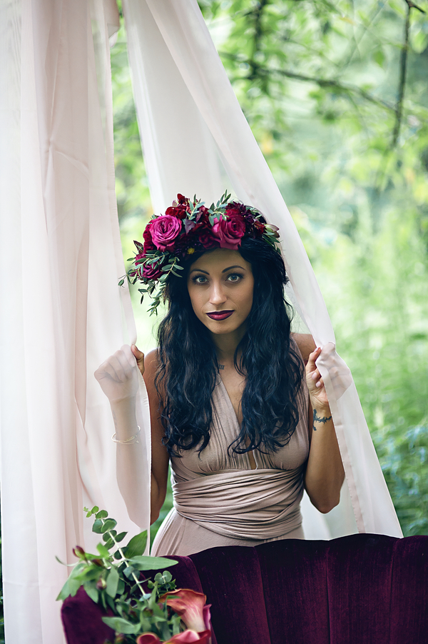 Woman with flower crown, Ethereal Woodland Styled Shoot | Rowanberry + Lavendar Photography