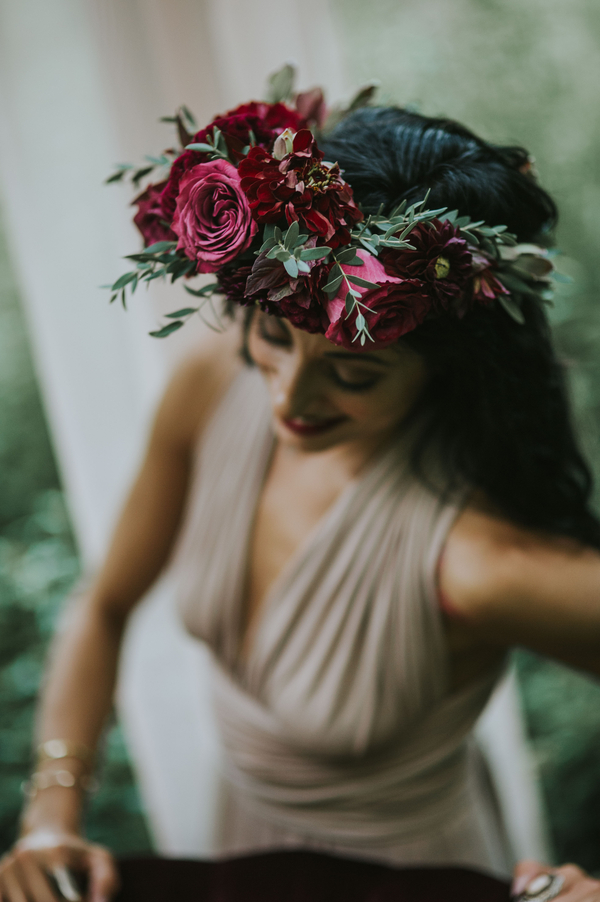 Detail of flower crown, Ethereal Woodland Styled Shoot | Rowanberry + Lavendar Photography