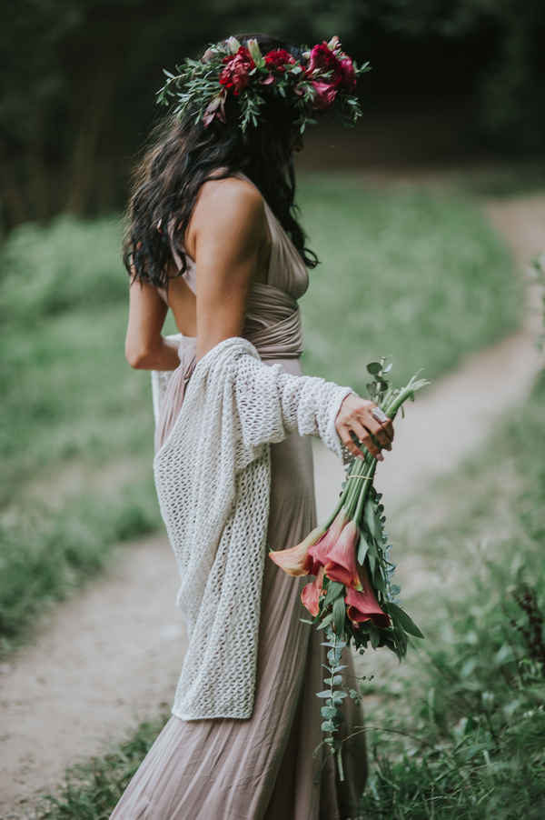 Woman carrying flowers, Ethereal Woodland Styled Shoot | Rowanberry + Lavendar Photography