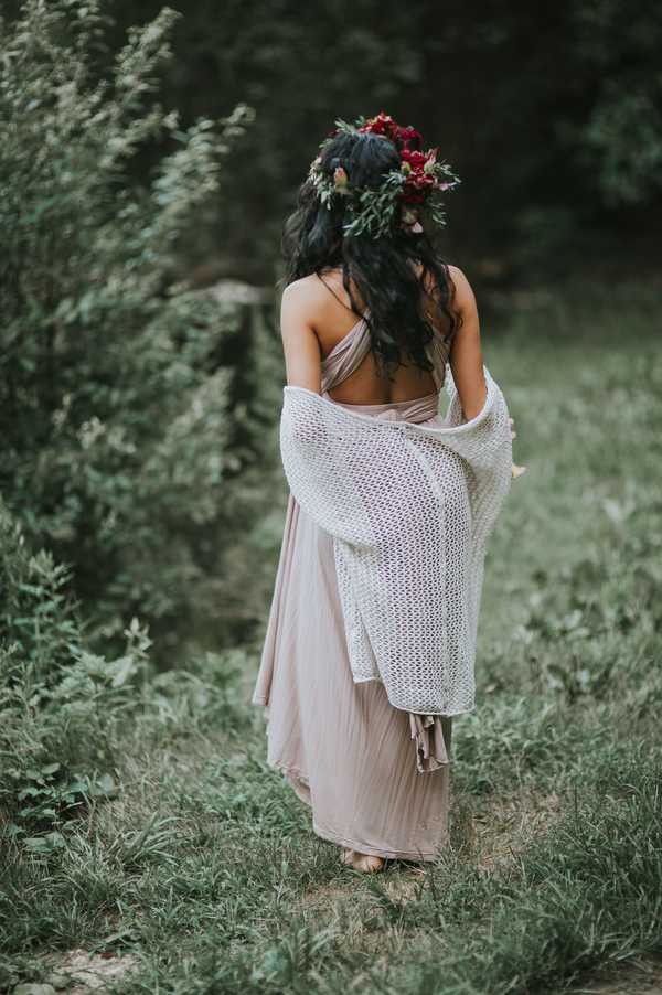 Woman walking away from camera, Ethereal Woodland Styled Shoot | Rowanberry + Lavendar Photography