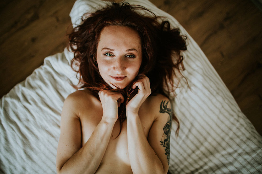 "Woman lying down and smiling at camera, Showing Herself: ""FOR HER"" Boudoir Session 