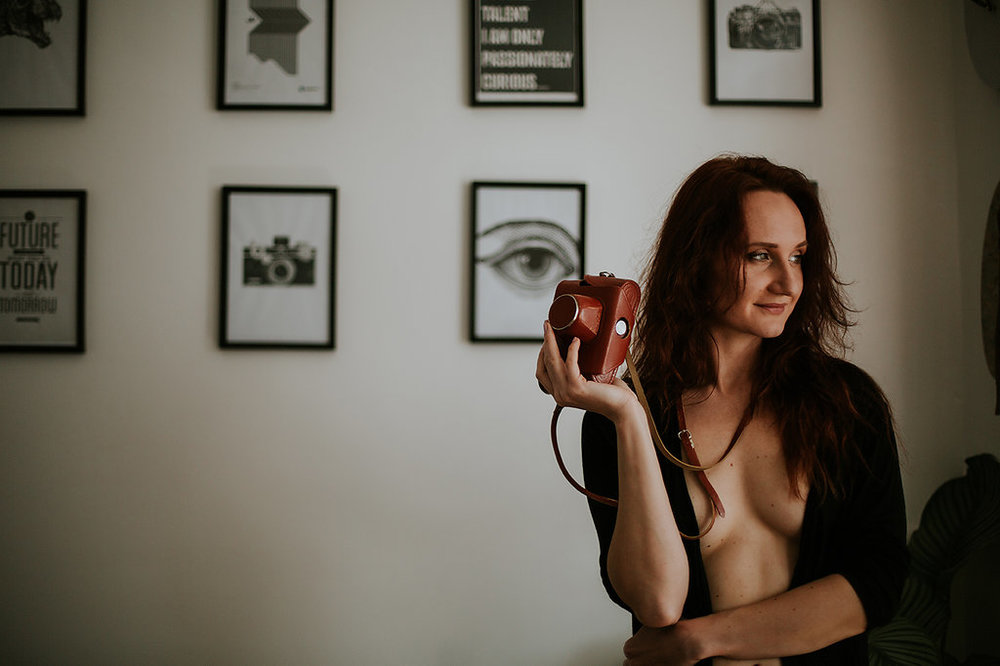 "Woman holding camera, Showing Herself: ""FOR HER"" Boudoir Session 