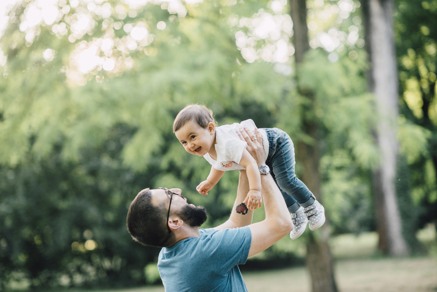 Dad lifting baby, Outdoor + Dusk Family Portrait Session | Serena Genovese