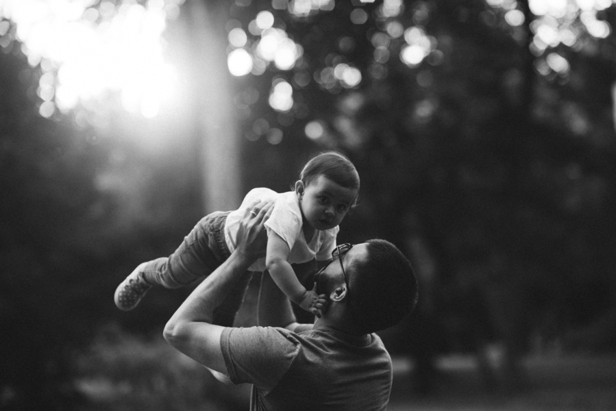 Black and white, dad and daughter, Outdoor + Dusk Family Portrait Session | Serena Genovese
