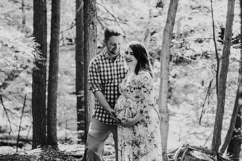 Black and white photo of pregnant couple, Artistic + Woodsy Maternity Session | Sarah P Thomas Photography