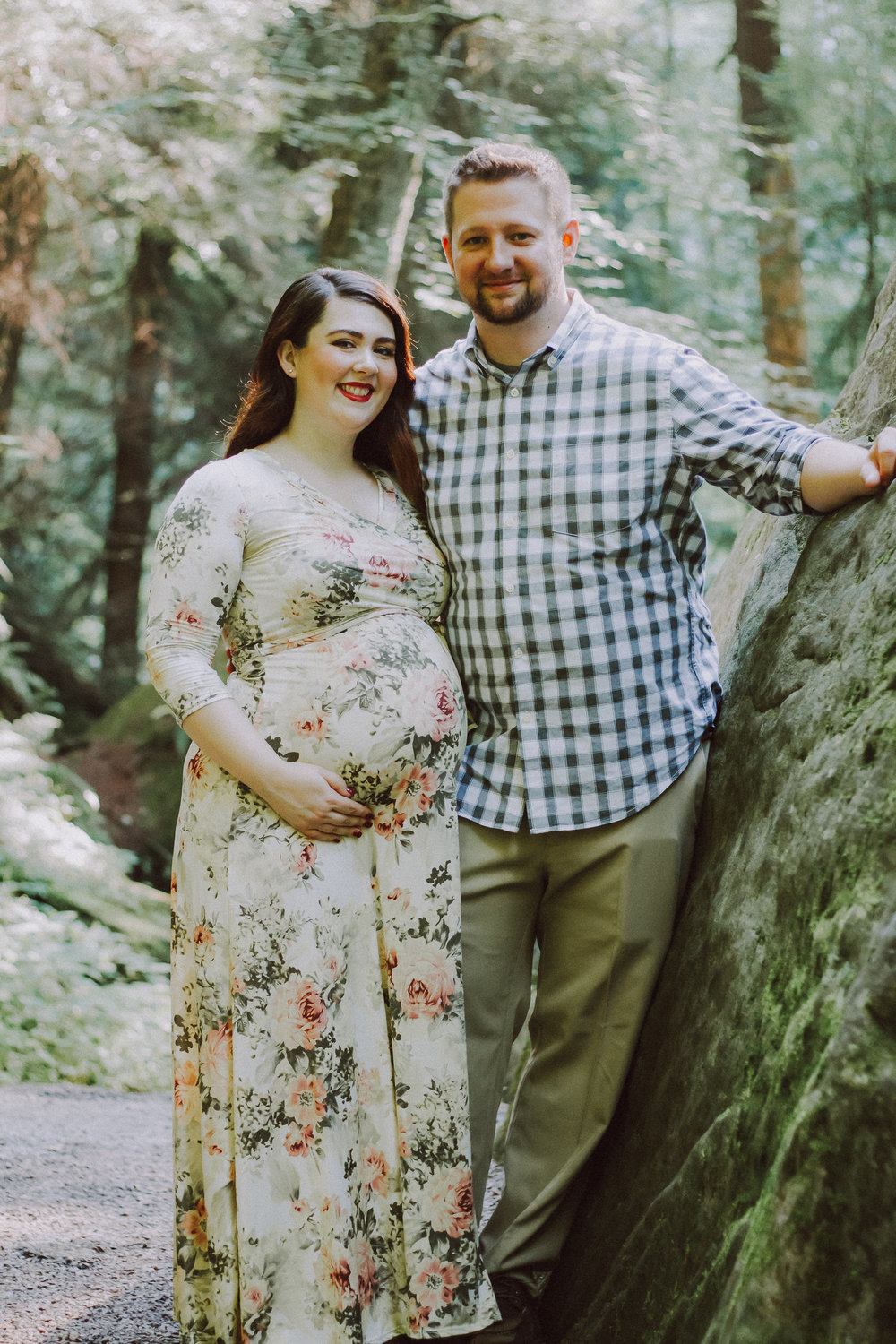 Couple smiling, Artistic + Woodsy Maternity Session | Sarah P Thomas Photography