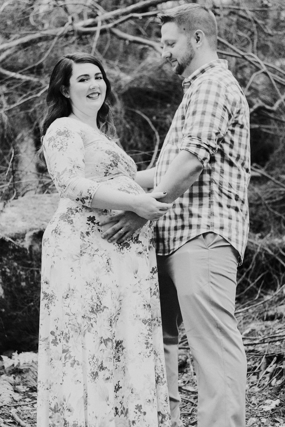 Black and white photo of couple, Artistic + Woodsy Maternity Session | Sarah P Thomas Photography