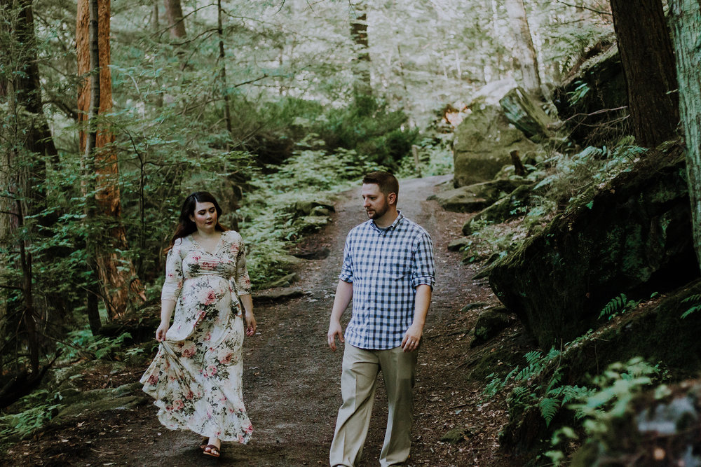 Couple walking through woods, Artistic + Woodsy Maternity Session | Sarah P Thomas Photography