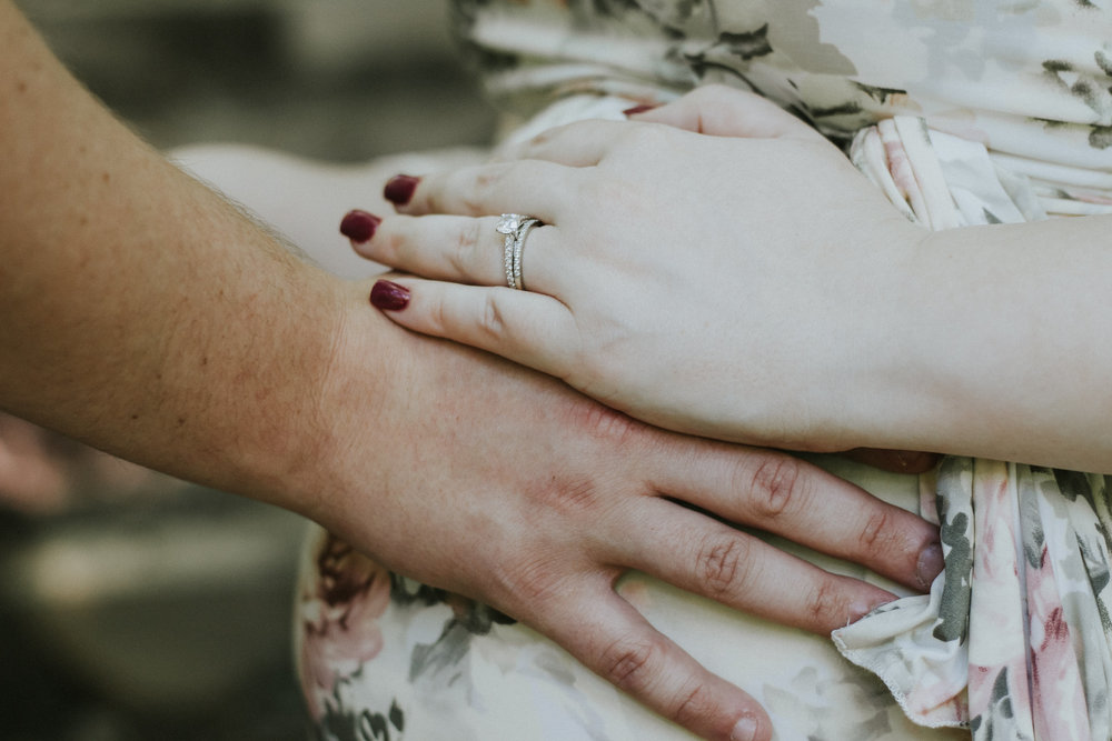Wedding ring detail shot, Artistic + Woodsy Maternity Session | Sarah P Thomas Photography