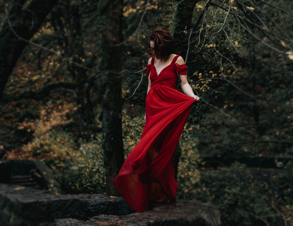 Woman in red dress in woods, Adventurous Outdoor + Waterfall Couples Session | Croative Photography