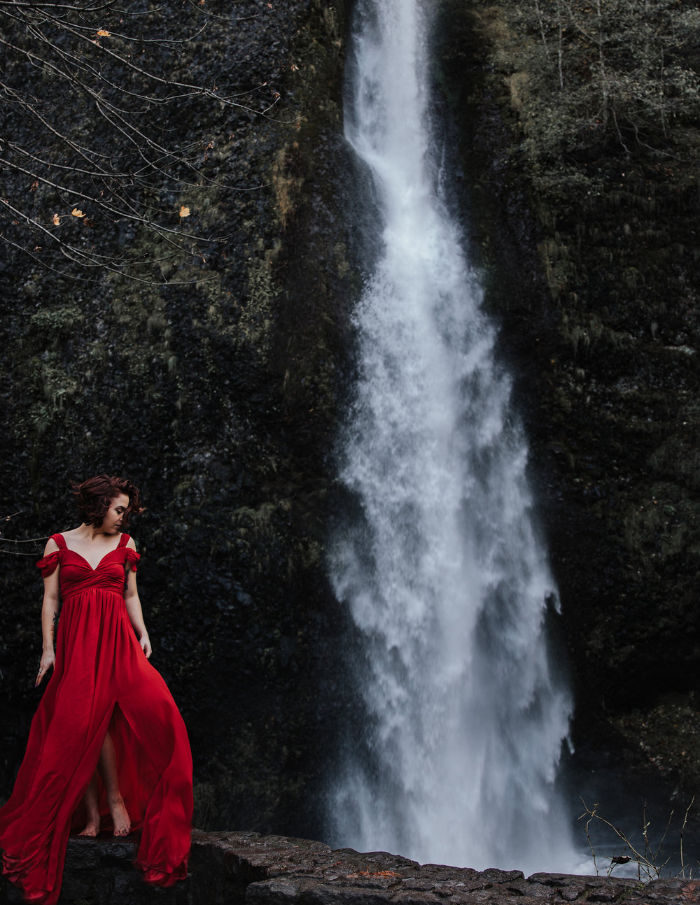 Babe in red dress by waterfall, Adventurous Outdoor + Waterfall Couples Session | Croative Photography