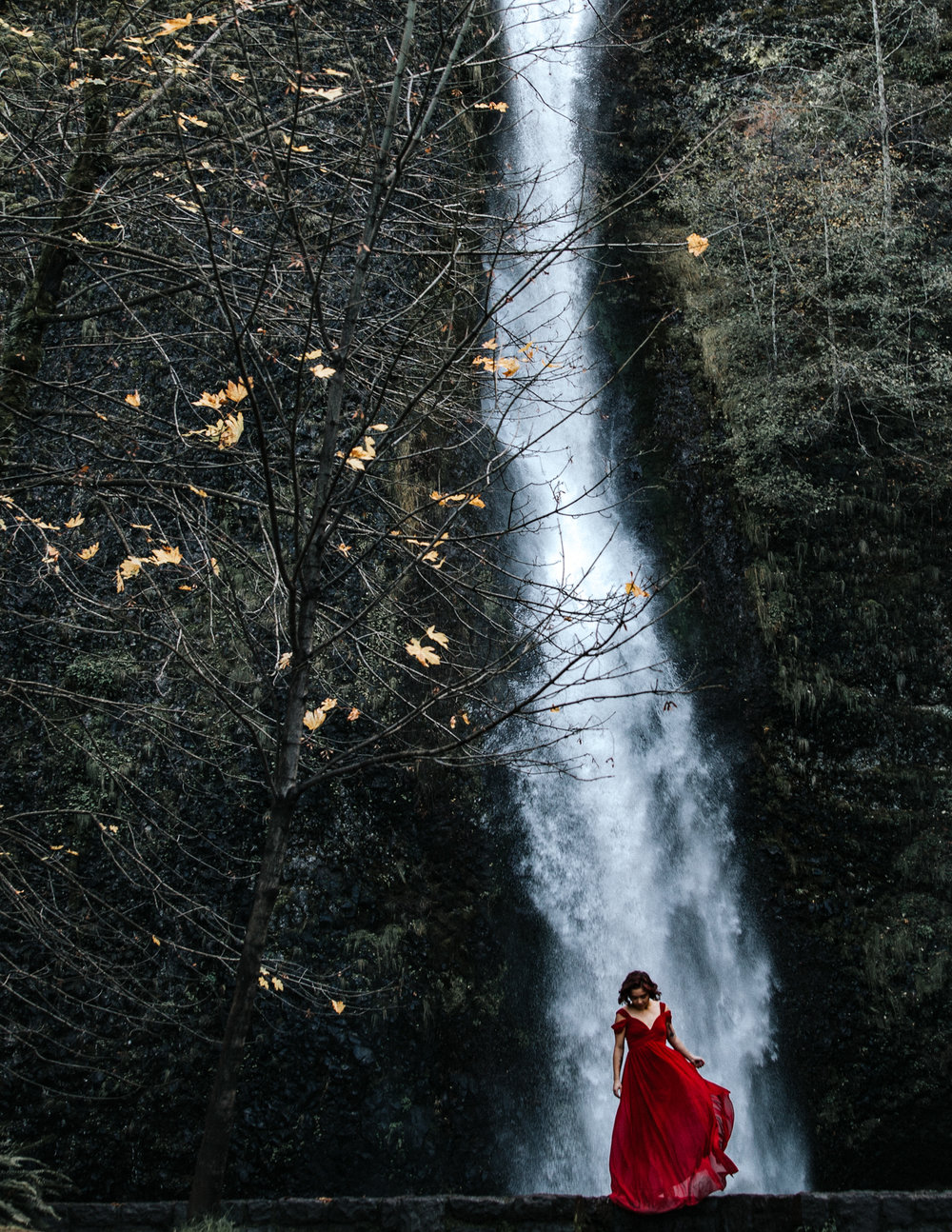 Woman dancing in front of waterfall, Adventurous Outdoor + Waterfall Couples Session | Croative Photography