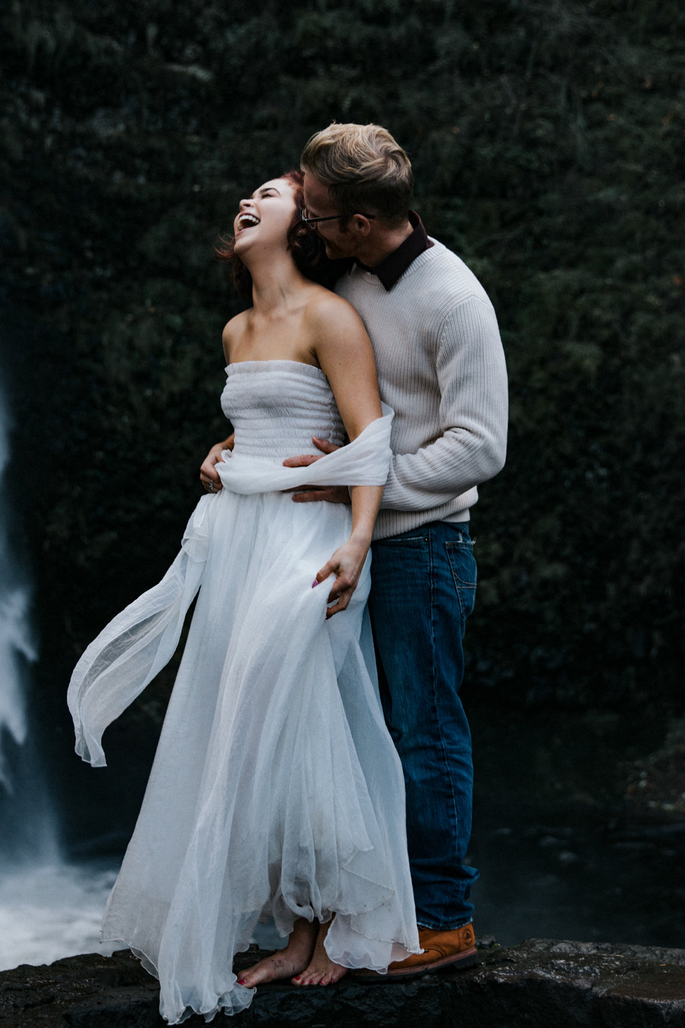 Couple laughing together, Adventurous Outdoor + Waterfall Couples Session | Croative Photography