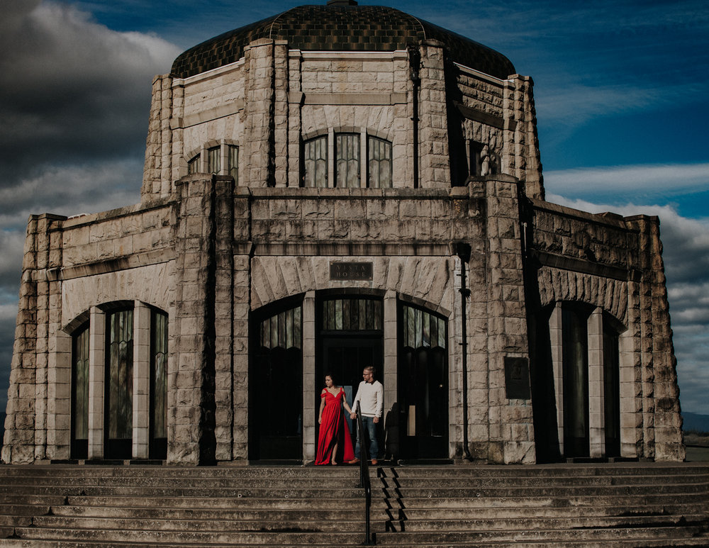 Couple in front of stone building, Adventurous Outdoor + Waterfall Couples Session | Croative Photography