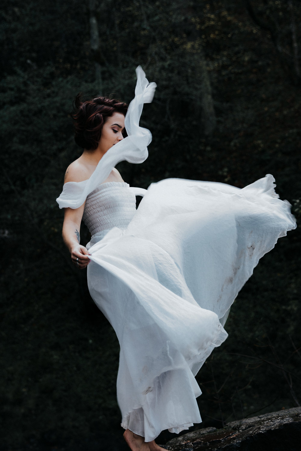 Woman dancing in white flowy dress, Adventurous Outdoor + Waterfall Couples Session | Croative Photography