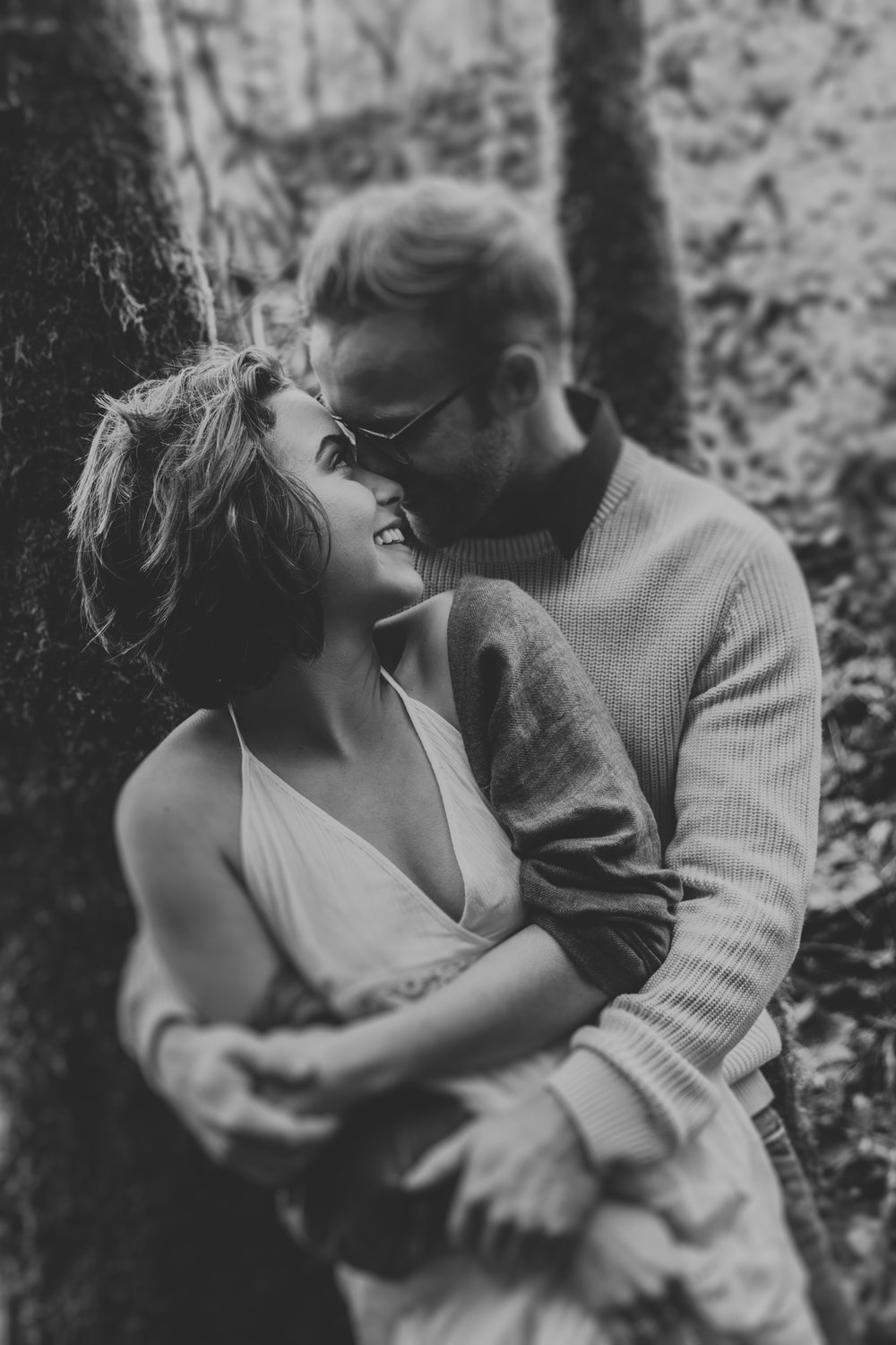 Black and white photo of couple hugging, Adventurous Outdoor + Waterfall Couples Session | Croative Photography