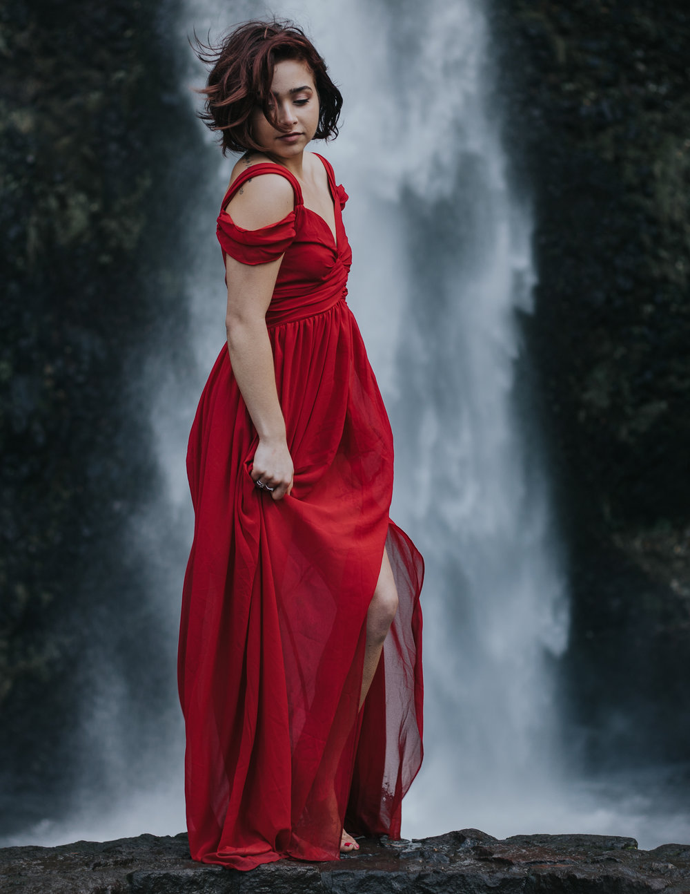 Babe in red dress in front of waterfall, Adventurous Outdoor + Waterfall Couples Session | Croative Photography