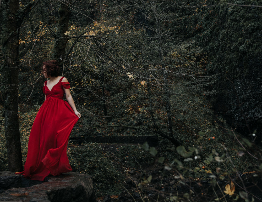 Babe in red dress in woods, Adventurous Outdoor + Waterfall Couples Session | Croative Photography