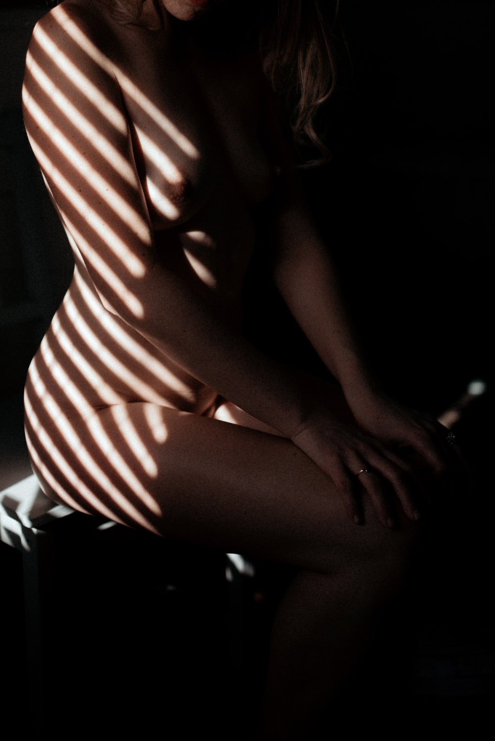 Window shade shadows on body, Intimacy + Shadows Boudoir Session | Rooney June Productions