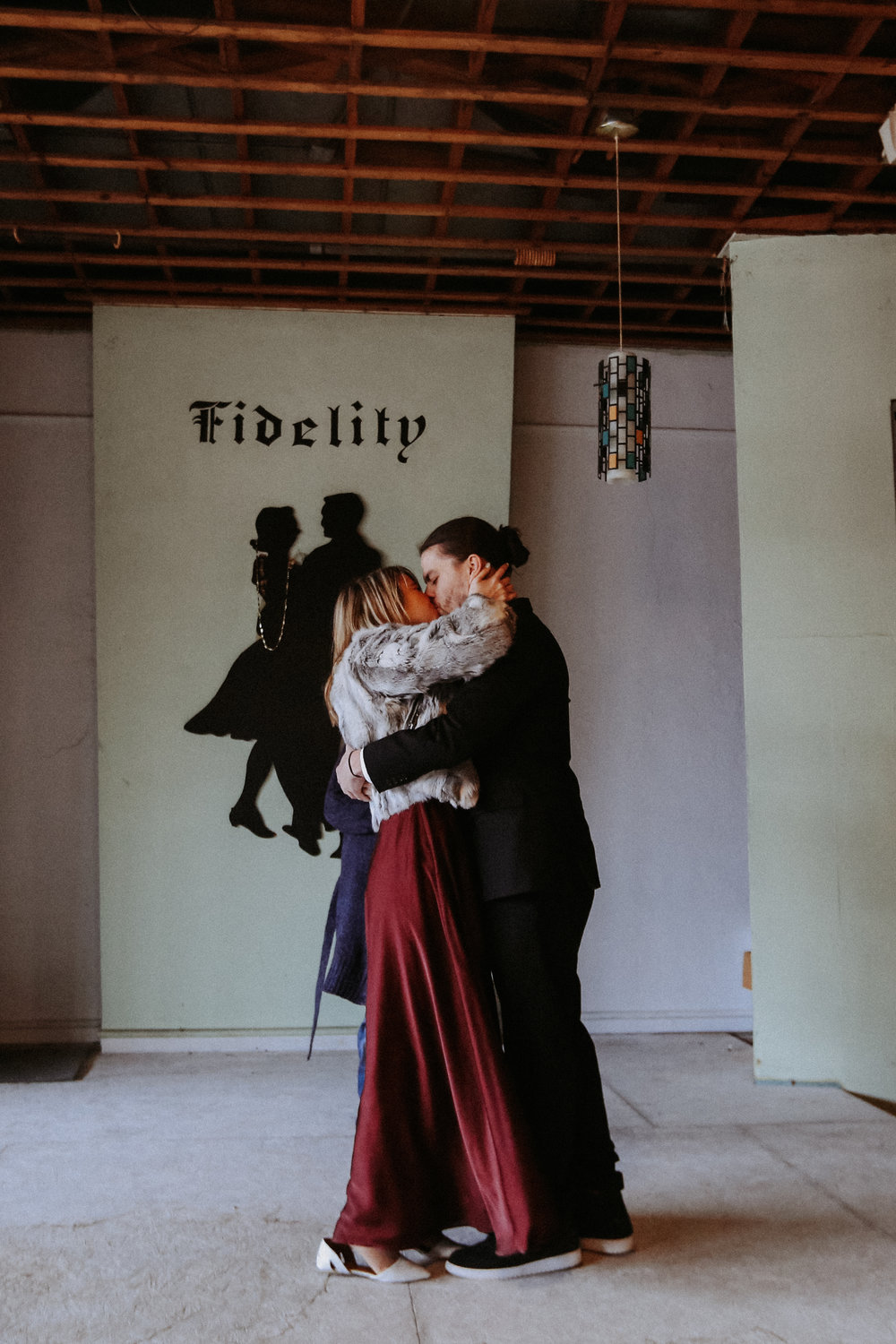 Bride and groom kissing, Friday the 13th Intimate Wedding | Brandy Swartz Photography