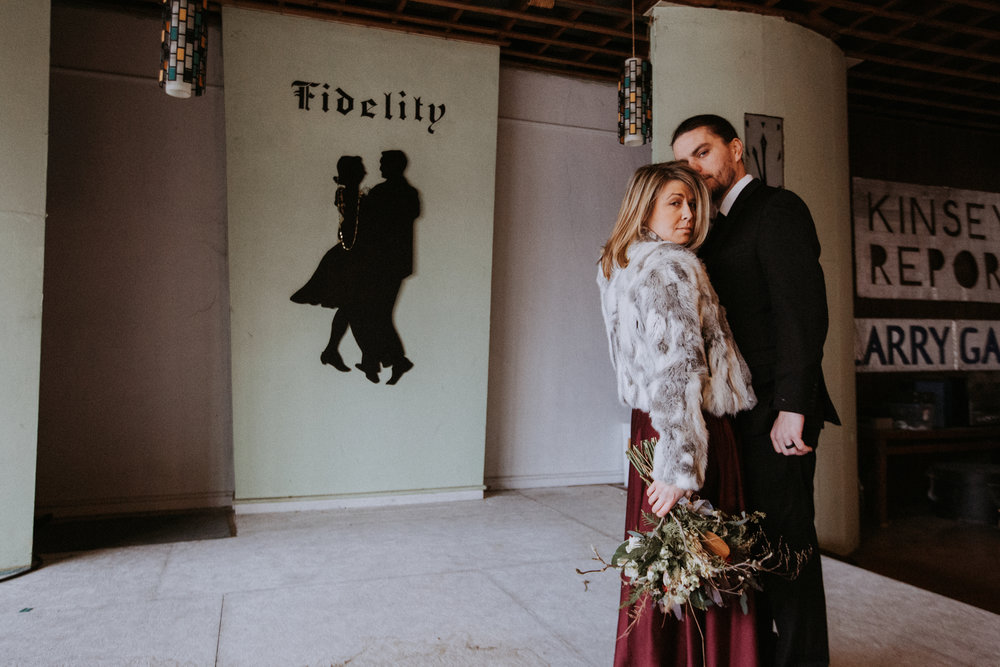 Groom kissing bride, Friday the 13th Intimate Wedding | Brandy Swartz Photography