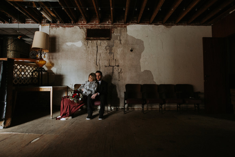 Bride and groom portrait indoors, Friday the 13th Intimate Wedding | Brandy Swartz Photography