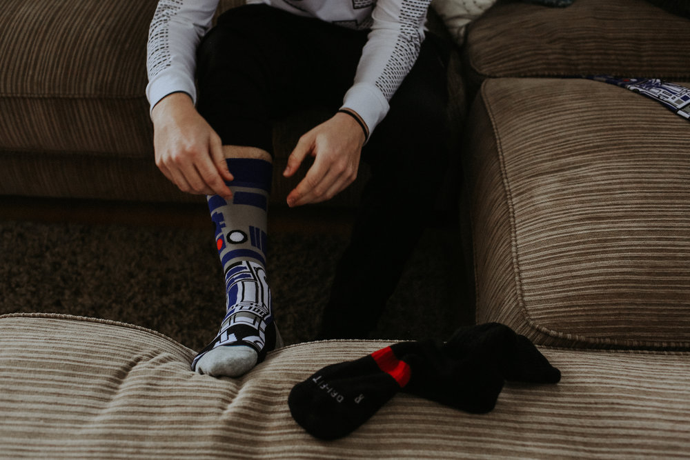 Star Wars socks, Friday the 13th Intimate Wedding | Brandy Swartz Photography