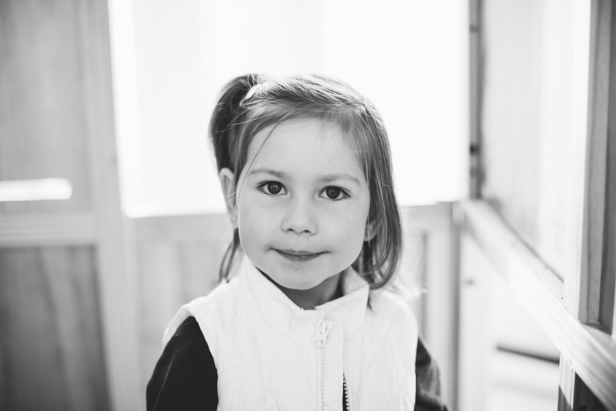 Black and white photo of daughter, Family Lifestyle Session on the Bay | Tiffany Caldwell Photography
