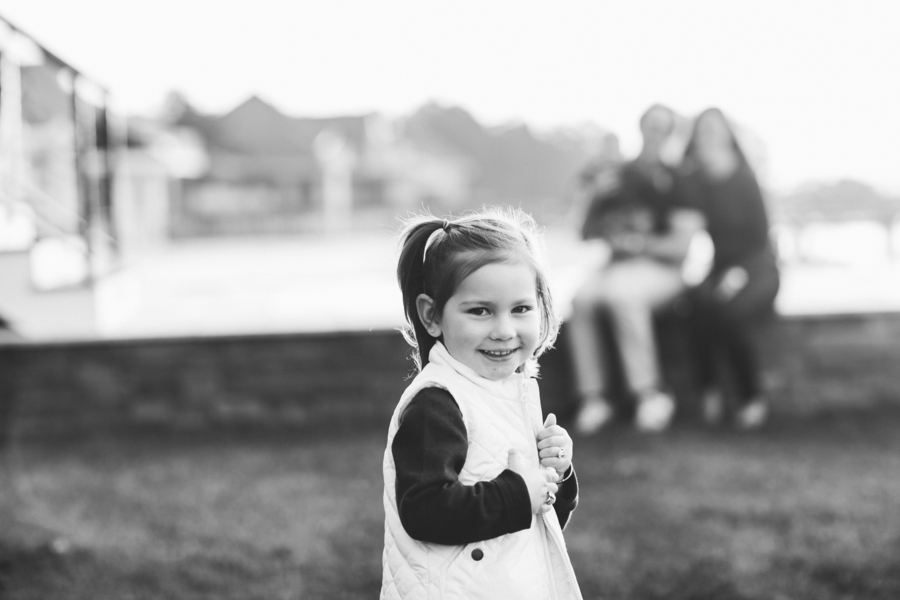 Black and white photo of girl, Family Lifestyle Session on the Bay | Tiffany Caldwell Photography