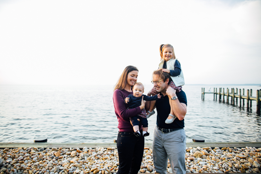 Family along waterfront, Family Lifestyle Session on the Bay | Tiffany Caldwell Photography