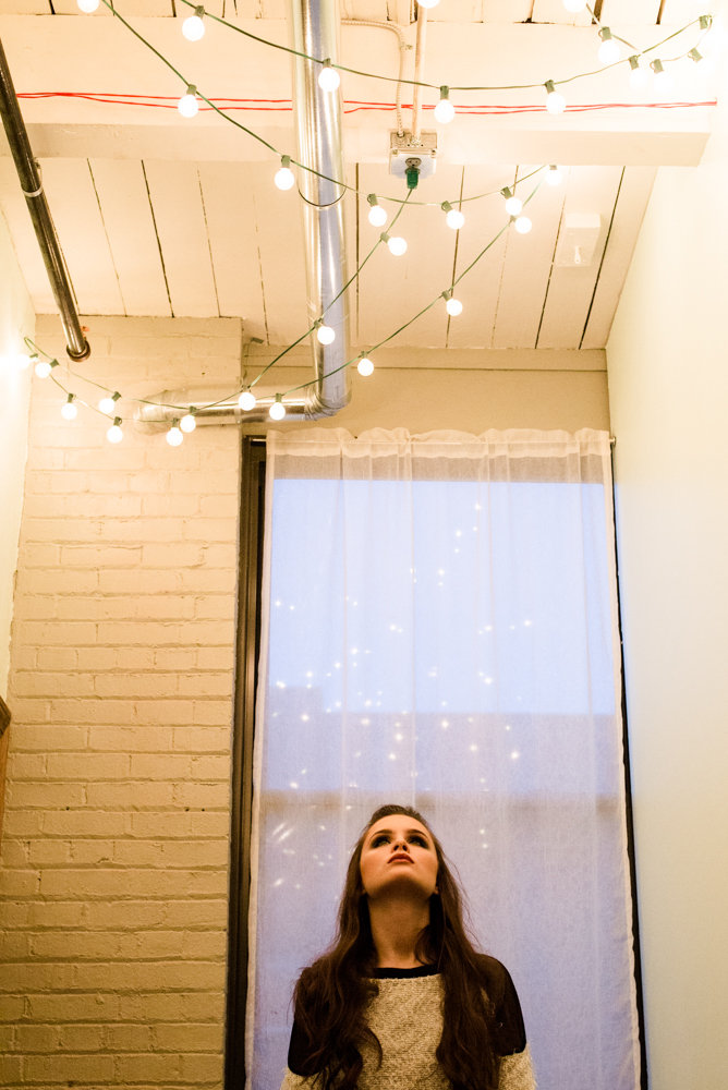 Babe staring at ceiling lights, Winter Styled Shoot | Marina Claire Photography