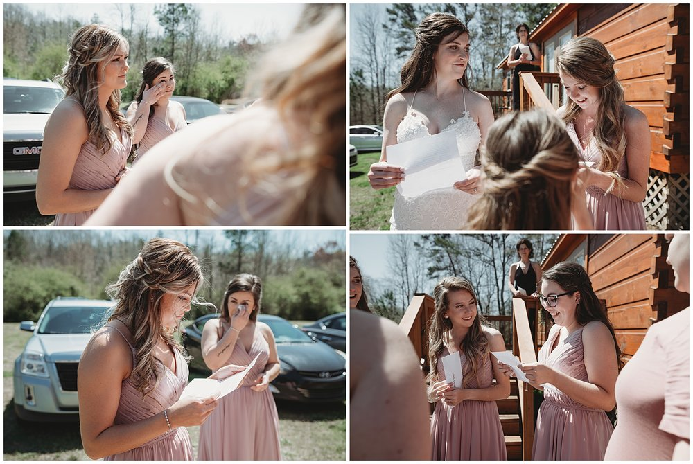 The groom wrote a letter to every bridesmaid. Yes. I know. I'm not crying; you're crying!