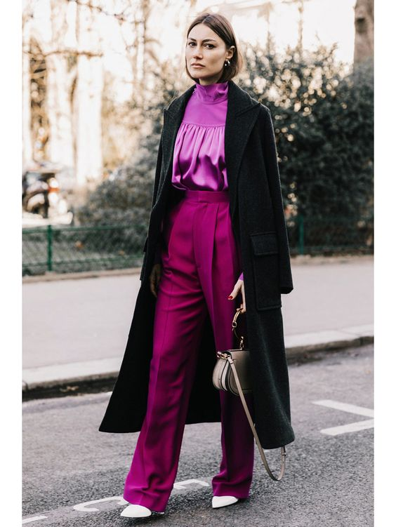 Mixing Textures - silk meets wool in this monochrome fuchsia look, giving it dimension