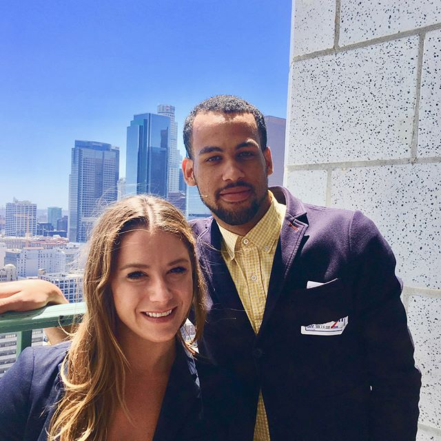 Jessica and Dylan at yesterday's launch of the Green Ribbon Council and recycLA program by @thecityoflosangeles & @lacitysan 🌴👏🏻♻️ - Delicious lunch from @homeboyindustries and great views of the city form the Tom Bradley Tower at City Hall ⛰🌆