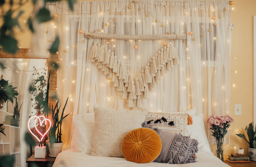 cozy bohemian - cozy and bright, this space features a soft palette with a feminine touch